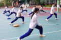 Some schools made pupils keep their masks on during PE lessons. Photo: Weibo