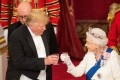 Self-proclaimed teetotaller US President Donald Trump and Queen Elizabeth make a toast at the state banquet at Buckingham Palace last June. Photo: Reuters