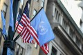 Flags of the United Nations and the United States of America are seen in New York City. Photo: AFP