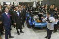 Chinese Premier Li Keqiang and Japanese Prime Minister Shinzo Abe (left) visit a Toyota Motor group factory in Tomakomai on Japan's northernmost main island of Hokkaido in May 2018. Photo: Kyodo