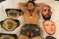 UFC bantamweight champion Henry Cejudo sleeps with his belts and pillows with the faces of Demetrious Johnson, TJ Dillashaw and Dominick Cruz. Photo: Twitter/Henry Cejudo