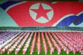 North Koreans perform during a festival to celebrate the 90th anniversary of the birth of North Korea's late founder, Kim Il-sung, and then leader Kim Jong-il's 60th birthday at Pyongyang's May Day stadium on April 29, 2002. Photo: AP