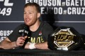 Justin Gaethje speaks to the media after his Interim lightweight title fight against Tony Ferguson at UFC 249. Photo: AFP