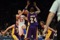 Jeremy Lin playing against Kobe Bryant when he was at the New York Knicks. The pair were teammates at the Los Angeles Lakers in the 2014-15 NBA season. Photo: EPA
