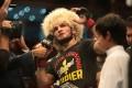 Khabib Nurmagomedov speaks in the Octagon after beating Dustin Poirier at UFC 242. Photo: Reuters