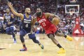 Houston Rockets guard James Harden drives to the basket against Minnesota Timberwolves guard Jordan McLaughlin in the team's last NBA game on March 10. Photo: USA Today Sports