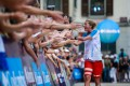 Courtney Dauwalter celebrates winning the 2019 UTMB. This year, travel restrictions because of the pandemic have forced its cancellation. Photo: UTMB/Christophe Pallot