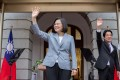Taiwan President Tsai Ing-wen, accompanied by Vice-President William Lai, during an inauguration event on Wednesday. Photo: Taiwan presidential office via AFP