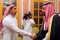 Salah Khashoggi, left, a son of Jamal Khashoggi, shakes hands with Saudi Crown Prince Mohammed bin Salman in Riyadh. Photo: Saudi Press Agency via AP