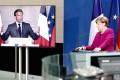 German Chancellor Angela Merkel holds a joint video news conference with French President Emmanuel Macron, from Berlin on May 18. Photo: Reuters