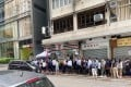 Potential homebuyers at the sales office for Vanke Holding (Hong Kong)'s The Campton development on Wednesday. Photo: Handout