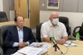 HKFA chairman Pui Kwan-kay and chief executive Paul Woodland, who will leave the association next month. Photo: Chan Kin-wa