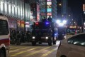 Police deploy a water cannon and armoured personnel carrier in Mong Kok. Photo: Dickson Lee