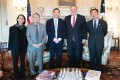 US Secretary of State Michael Pompeo meets with survivors of the Tiananmen Square crackdown on Tuesday in Washington. From left, Liane Lee, Su Xiaokang, Wang Dan, Pompeo and Henry Li. Photo: Twitter