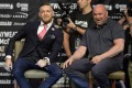 Former UFC double champion Conor McGregor and UFC president Dana White at a world tour press conference ahead of a cross-over bout with Floyd Mayweather in 2017. Photo: USA Today