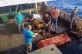 A still from footage that emerged last month appearing to show the burial of sea of an Indonesian crew member of the Chinese fishing vessel Long Xing 629. Photo: Handout