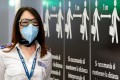 An airport security member wearing a protective face mask stands near a sign advising social distancing at Fiumicino Airport in Italy. Photo: Reuters