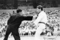 Bruce Lee shows his famous one-inch punch at the Long Beach International Karate Championships, 1964. Photo: Handout