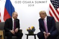 President Donald Trump (at right) meets with Russian President Vladimir Putin during a bilateral meeting on the sidelines of the G-20 summit in Osaka, Japan in June last year. The US and Russia have agreed to arms control talks this month, according to Trump's special envoy for arms control. Photo: AP