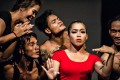A Cambodian circus that takes its performers from the country's poorest, and funds an arts school, is facing hard times during the Covid-19 pandemic. Nov Sreyleak (red) and other members of Phare. Photo: Phare