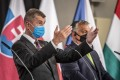 Czech Prime Minister Andrej Babis (left) and Hungarian Prime Minister Viktor Orban wear face masks at a press conference after the Visegrad Group summit in Lednice. Photo: EPA-EFE