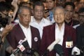 Mahathir Mohamad (right) in 2018, beside Muhyiddin Yassin, who replaced him as prime minister earlier this year. Photo: AP