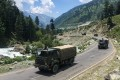 An Indian army convoy makes way towards Leh, bordering China, on June 17, 2020. Fighting broke out between Indian and Chinese soldiers in a skirmish on Monday. Photo: AFP