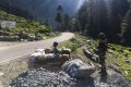 Indian Border Security Force soldiers guard a highway leading towards Leh, bordering China, in Gagangir on June 17. Photo: AFP