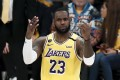 Los Angeles Lakers forward LeBron James reacts during a match against the Portland Trail Blazers. Photo: EPA