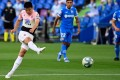 Espanyol's Chinese forward Wu Lei shoots on goal in their La Liga match against Getafe. Photo: AFP