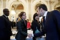 French President Emmanuel Macron greets British actress Emma Watson ahead of a meeting on gender equality at the Elysee Palace in Paris in 2019. Photo: Reuters/Pool
