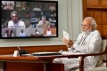 Indian Prime Minister Narendra Modi holds an all party meeting via video conferencing on Friday. During the meeting, he said that no Chinese troops had entered Indian territory. Photo: EPA-EFE