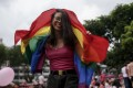 A participant dances with a rainbow flag during last year's Pink Dot event held at the Speaker's Corner in Hong Lim Park. Photo: EPA