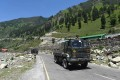 Indian army trucks on a highway leading to Ladakh. India has reportedly deployed high altitude warfare forces along the Line of Actual Control in northern India after skirmishes with China. Photo: EPA-EFE
