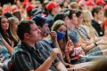 A woman gestures as a crowd of young people wait to hear US President Donald Trump speak in Arizona on Tuesday. Photo: Reuters