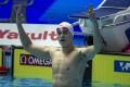China's Sun Yang celebrates winning the 400m freestyle at the 2019 world championships in Gwangju, South Korea. Photo: EPA