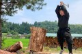 Genichi Mitsuhashi carries out his ninja training in Iga, Mie prefecture, on June 21, 2019. Photo courtesy of Genichi Mitsuhashi / AFP
