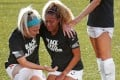 Chicago Red Stars Julie Ertz consoles teammate Casey Short as they take a knee during the national anthem before the Challenge Cup at Zions Bank Stadium in Utah. Photo: USA TODAY Sports