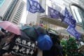Anti-government protesters wave Hong Kong independence flags in Causeway Bay on Wednesday. Photo: Winson Wong