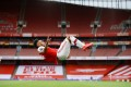 Arsenal's Pierre-Emerick Aubameyang celebrates scoring their third goal in a win over Norwich. Photo: Reuters
