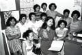 Chairwoman of the Hong Kong Domestic Workers' Union, Gloria Futol (centre), with former maids, in 1983. Photo: SCMP