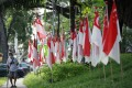 A man walks past Singapore national flags in a residential area ahead of the general election in Singapore. photo: EPA