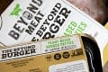 Beyond Meat's plant-based burger patties went on sale Saturday in Shanghai Hema grocery stores. Photo: Bloomberg