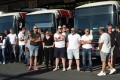 Bus drivers in Bayonne, southwestern France, wait for a visit by the junior transport minister on Tuesday, two days after a colleague was attacked for refusing to let a passenger board without a mask. Photo: AFP