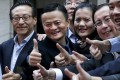 Alibaba Group Holding' senior executives at the New York Stock Exchange for the company's initial public offering (IPO) on September 19, 2014. Co-founder and vice-chairman Joe Tsai (left), Jack Ma (centre) and then chief operating officer Daniel Zhang (right) are in the photo. Photo: Reuters