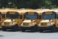 School buses are seen parked behind an elementary school in Pottsville, Pennsylvania, in June. Photo: AP