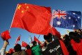 Chinese supporters rally outside Parliament House during the Beijing 2008 Olympic torch relay through Canberra on April 24, 2008. Photo: AFP