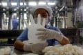 A worker carries out a test on a glove at a Top Glove factory outside Kuala Lumpur on June 25, 2009. Photo: Reuters
