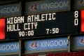 The scoreboard at the end of the EFL Championship match between Wigan Athletic and Hull City at DW Stadium. Photo: DPA
