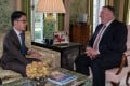 Self-exiled Hong Kong student leader Nathan Law Kwun-chung meets US Secretary of State Mike Pompeo in London. Photo: Facebook